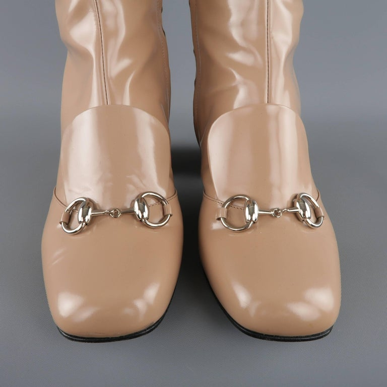 GUCCI Size 8.5 Tan Glossy Leather Horsebit 'Lillian' Knee Boots 3