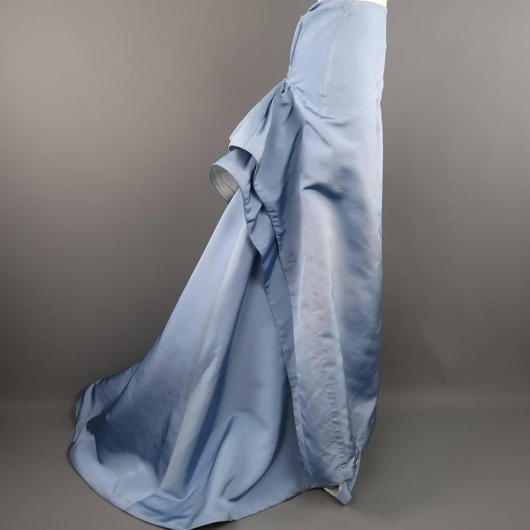Carolina Herrera Size 10 Light Blue Silk Gathered Train Evening Skirt 3