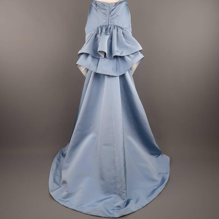 Carolina Herrera Size 10 Light Blue Silk Gathered Train Evening Skirt 6