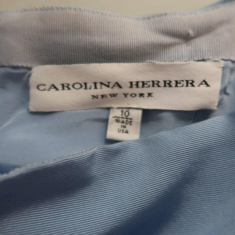 Carolina Herrera Size 10 Light Blue Silk Gathered Train Evening Skirt 10