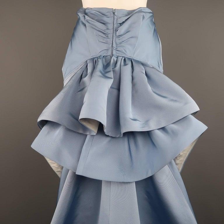 Carolina Herrera Size 10 Light Blue Silk Gathered Train Evening Skirt 7