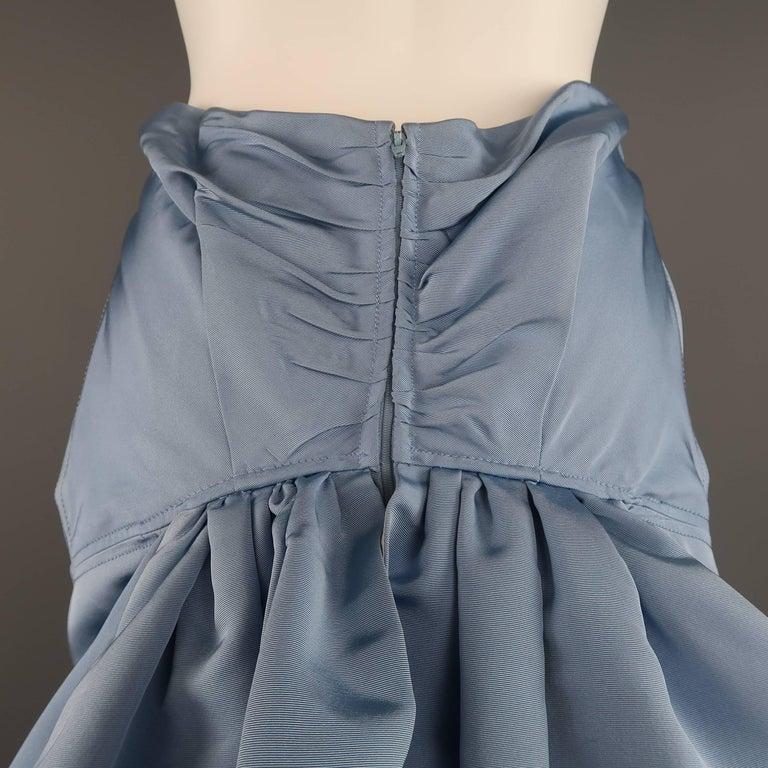 Carolina Herrera Size 10 Light Blue Silk Gathered Train Evening Skirt 8