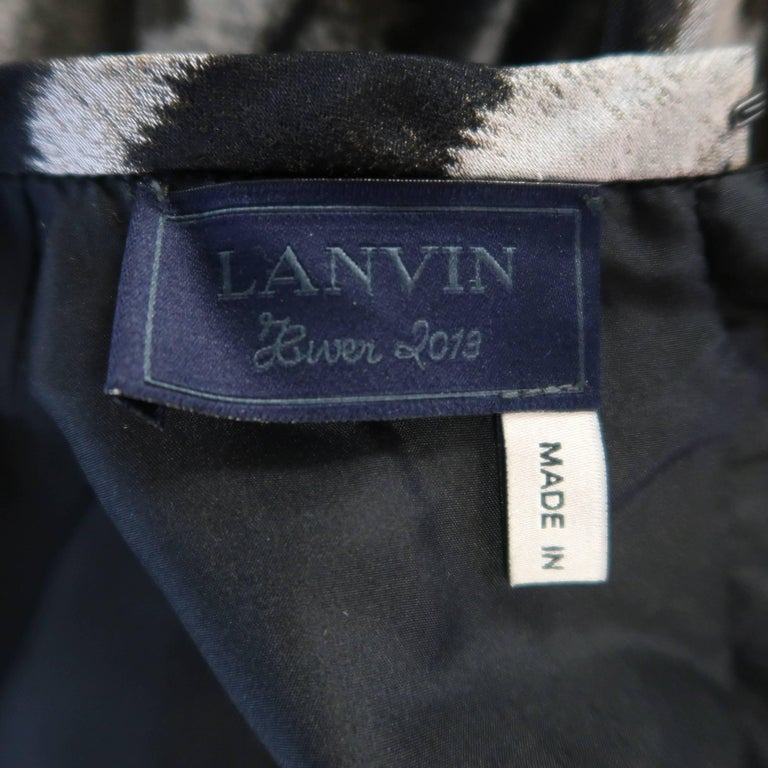 Lanvin Size 6 Gray Leopard Silk Blend Ruffle Skirt Long Sleeve Cocktail Dress For Sale 5