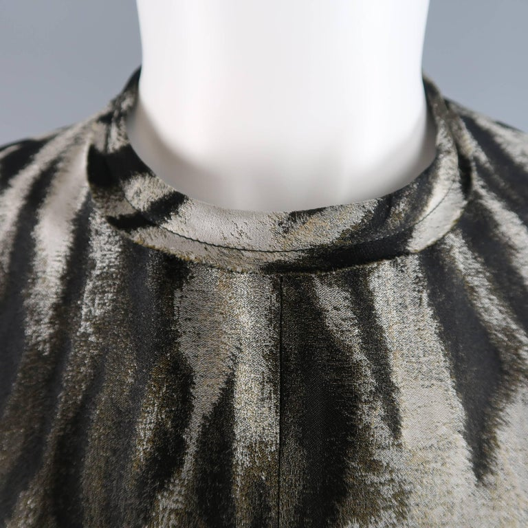 Lanvin Size 6 Gray Leopard Silk Blend Ruffle Skirt Long Sleeve Cocktail Dress In Excellent Condition For Sale In San Francisco, CA