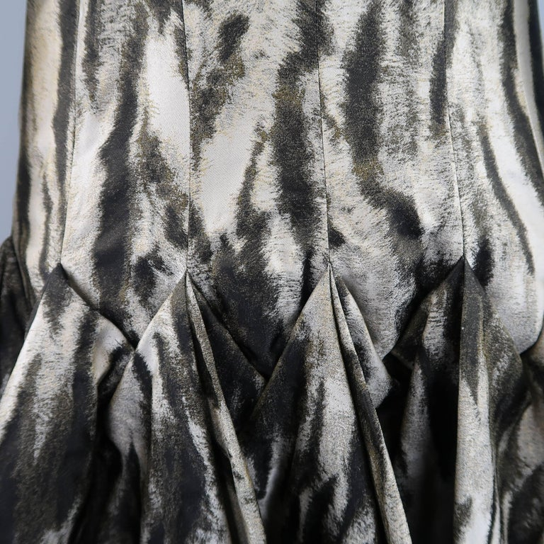 Lanvin Size 6 Gray Leopard Silk Blend Ruffle Skirt Long Sleeve Cocktail Dress For Sale 2