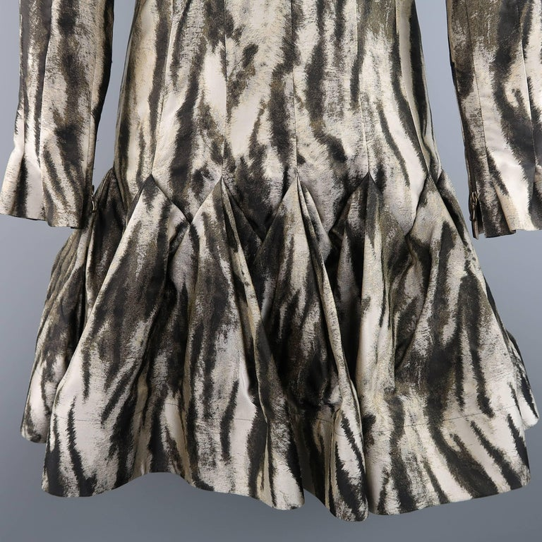 Lanvin Size 6 Gray Leopard Silk Blend Ruffle Skirt Long Sleeve Cocktail Dress For Sale 1