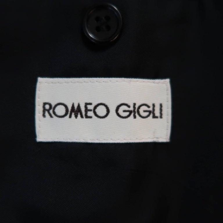 Men's ROMEO GIGLI 38 Black & Red Pinstripe Wool Full Length Over Coat For Sale 5