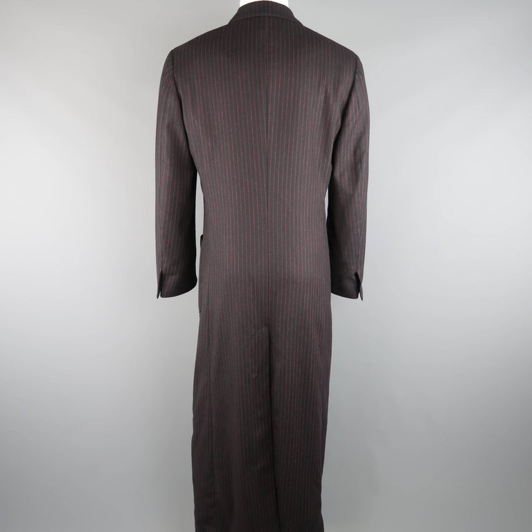 Men's ROMEO GIGLI 38 Black & Red Pinstripe Wool Full Length Over Coat For Sale 3