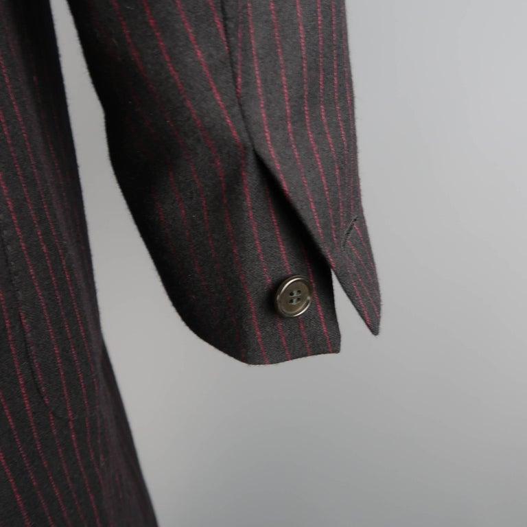 Men's ROMEO GIGLI 38 Black & Red Pinstripe Wool Full Length Over Coat For Sale 2