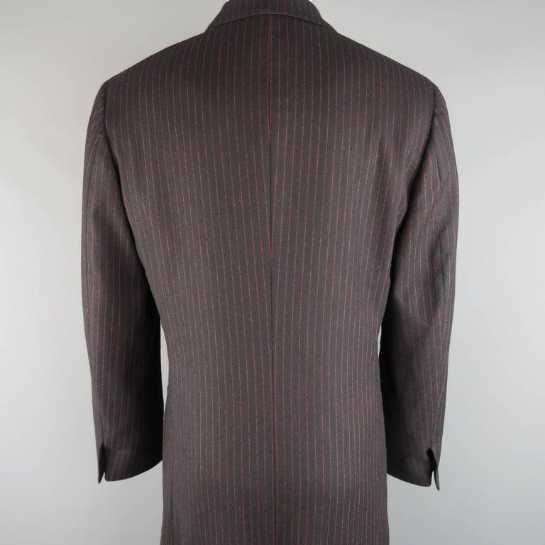 Men's ROMEO GIGLI 38 Black & Red Pinstripe Wool Full Length Over Coat For Sale 4