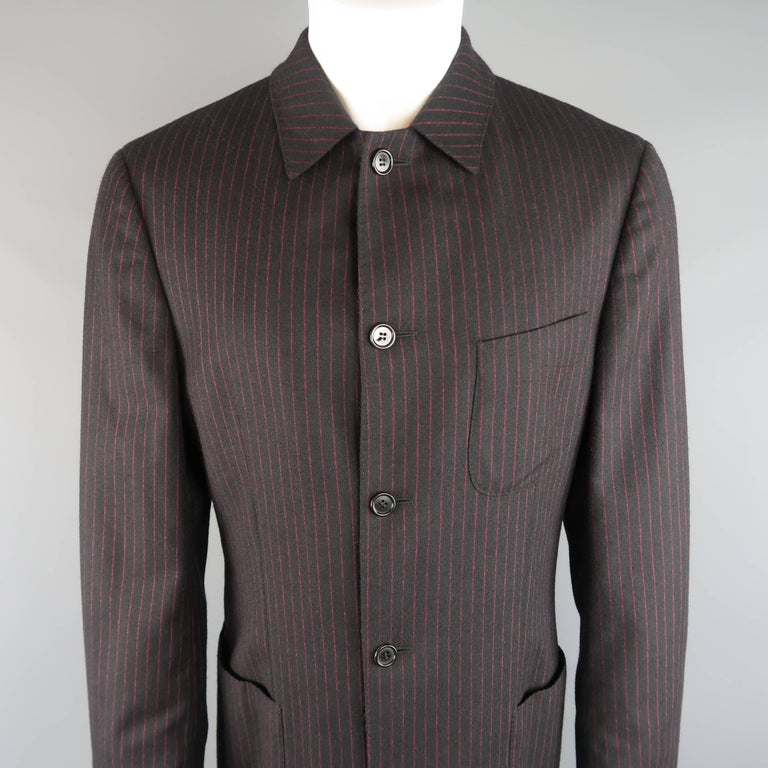 Men's ROMEO GIGLI 38 Black & Red Pinstripe Wool Full Length Over Coat In Excellent Condition For Sale In San Francisco, CA