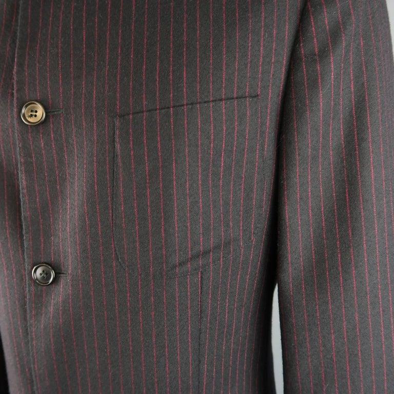 Women's or Men's Men's ROMEO GIGLI 38 Black & Red Pinstripe Wool Full Length Over Coat For Sale