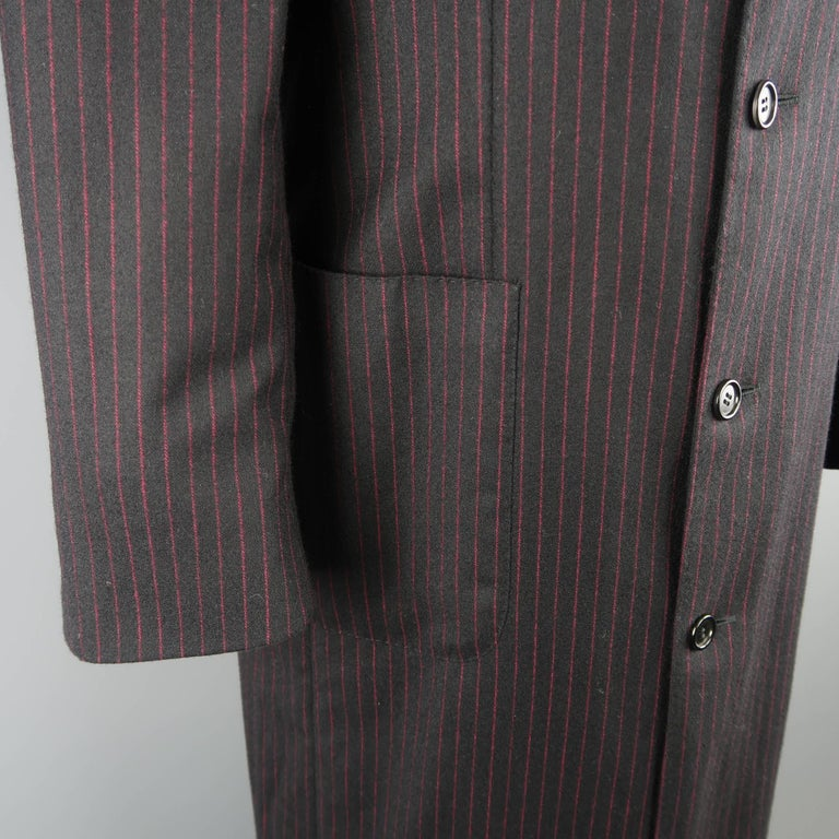 Men's ROMEO GIGLI 38 Black & Red Pinstripe Wool Full Length Over Coat For Sale 1