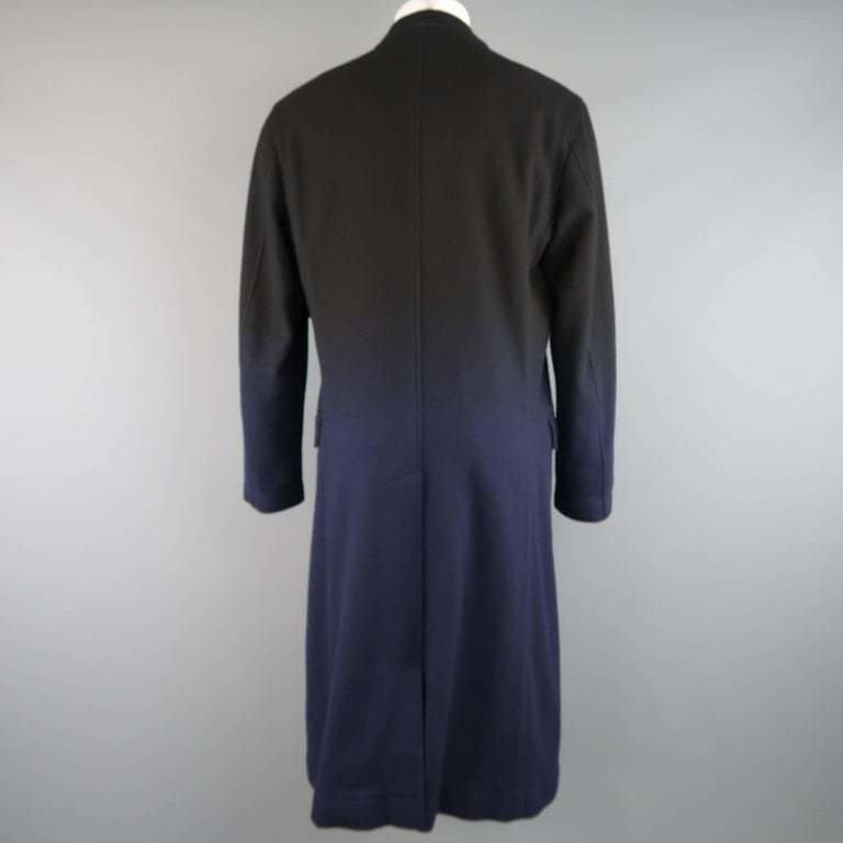 ISSEY MIYAKE XL Black & Navy Ombre Wool Blend Notch Lapel Over Coat For Sale 1