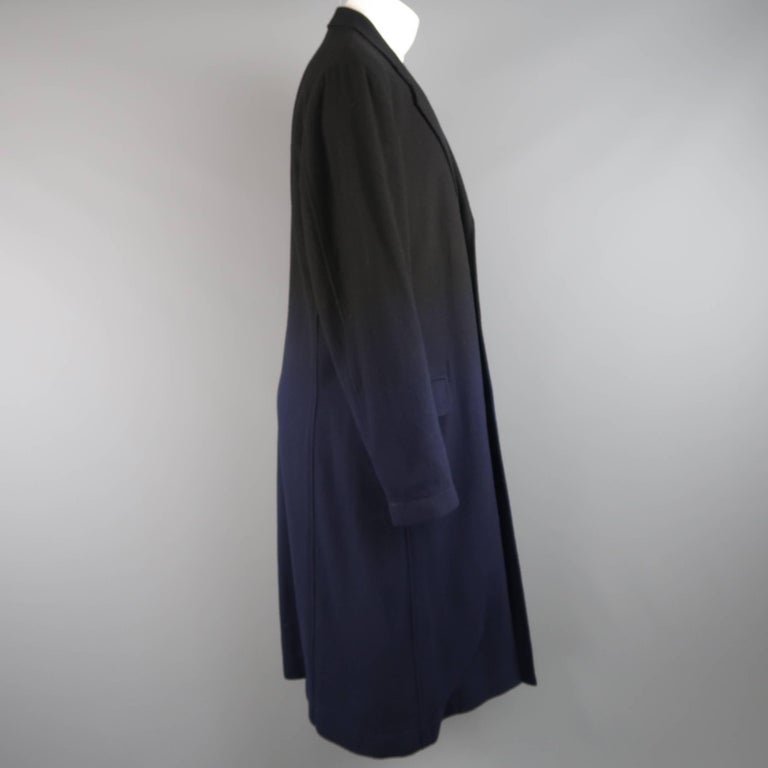 Women's or Men's ISSEY MIYAKE XL Black & Navy Ombre Wool Blend Notch Lapel Over Coat For Sale