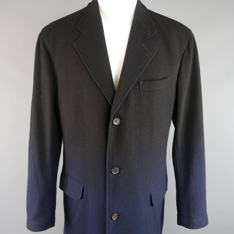 ISSEY MIYAKE XL Black & Navy Ombre Wool Blend Notch Lapel Over Coat In Good Condition For Sale In San Francisco, CA