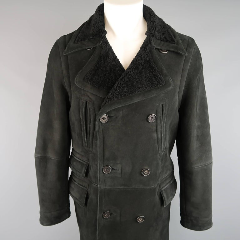 Ralph Lauren Polo Men's Black Shearling Double Breasted Pea Coat In Good Condition For Sale In San Francisco, CA
