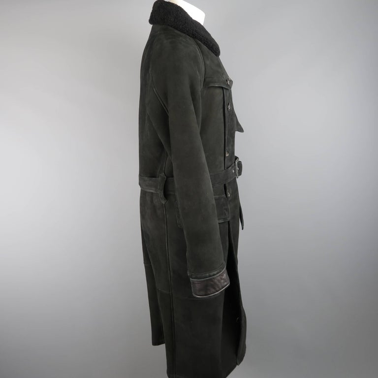 Polo Ralph Lauren Black Shearling Fur Collar Belted Over Coat For Sale 2