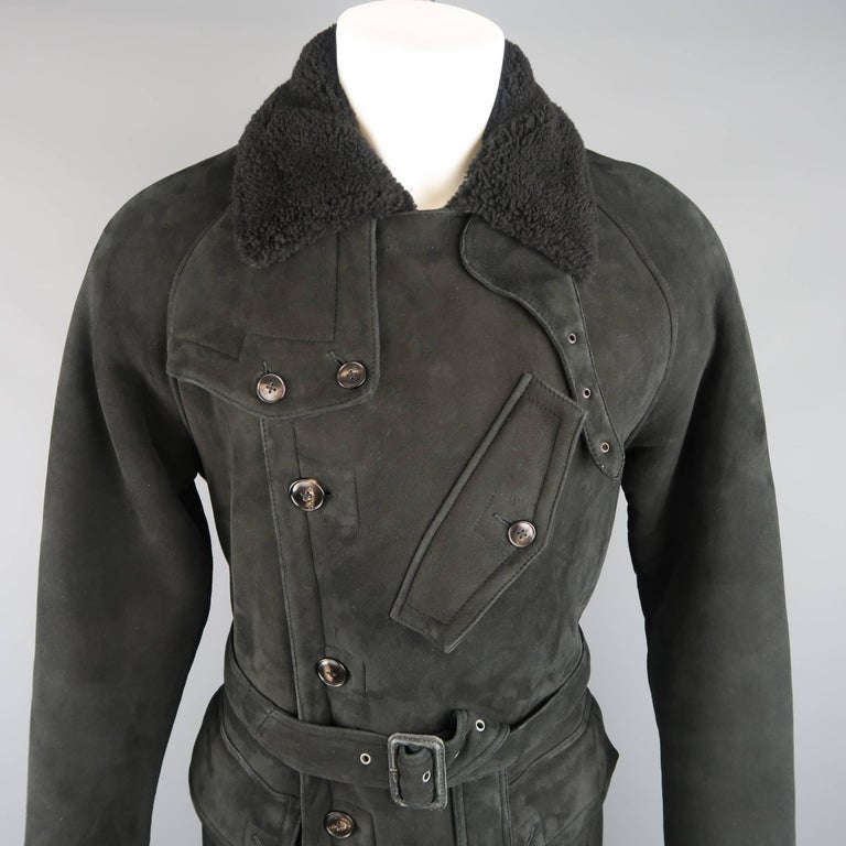 Women's or Men's Polo Ralph Lauren Black Shearling Fur Collar Belted Over Coat For Sale