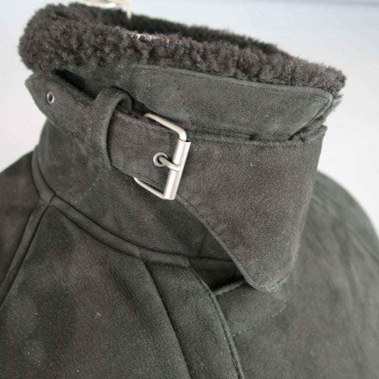 Polo Ralph Lauren Black Shearling Fur Collar Belted Over Coat For Sale 1