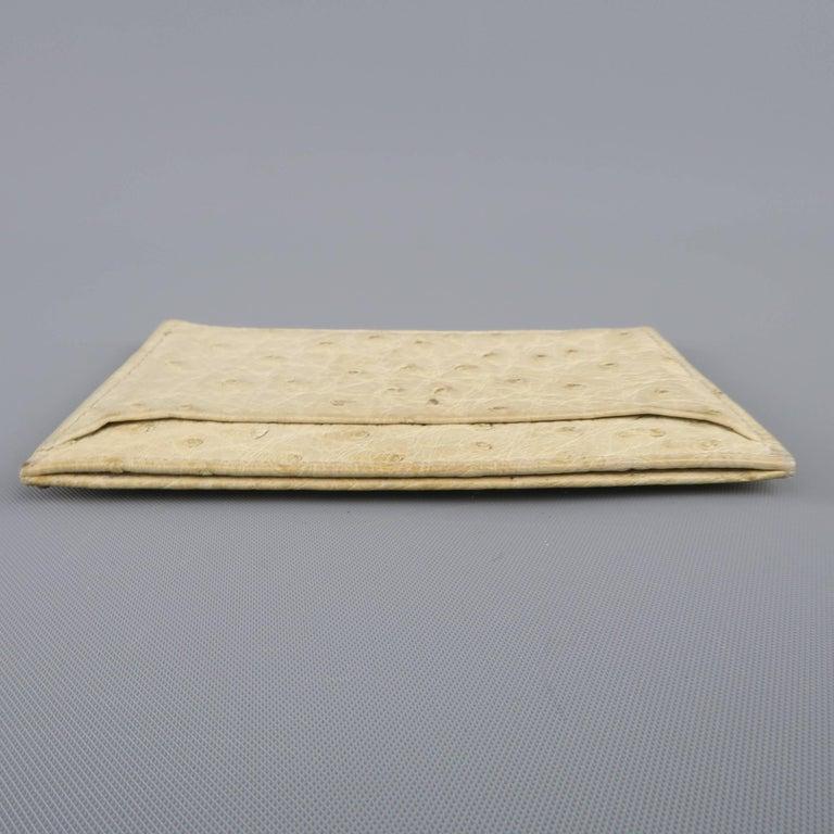 6eaebfffefc1 PRADA Light Beige Ostrich Leather Card Case For Sale 1