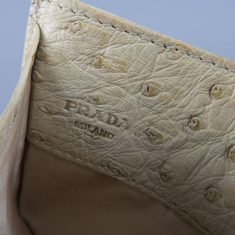 1e7d25695f2d PRADA Light Beige Ostrich Leather Card Case For Sale 3