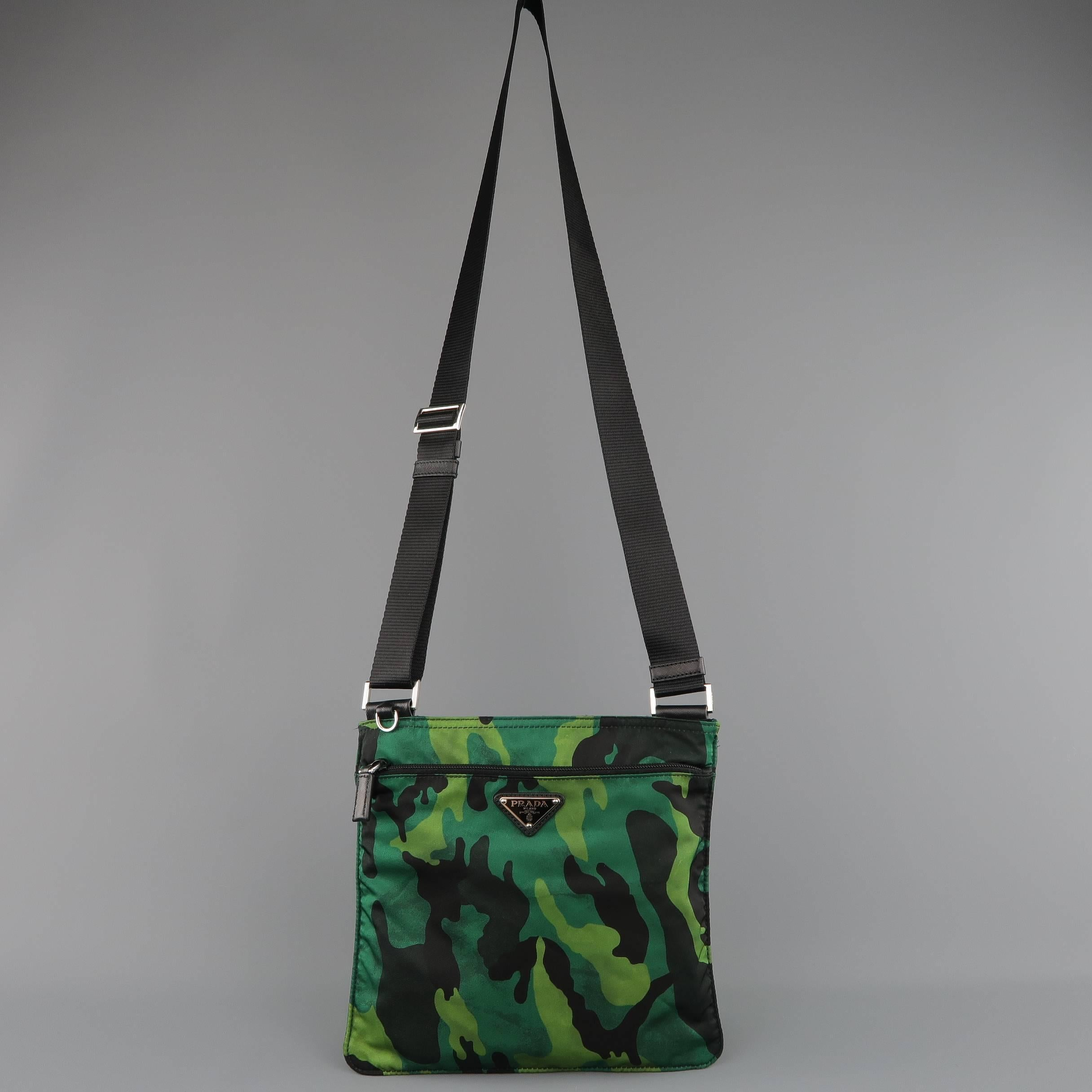 f9072b1a20d0 PRADA Green Distressed Camouflage Nylon Tessuto Crossbody Bag at 1stdibs