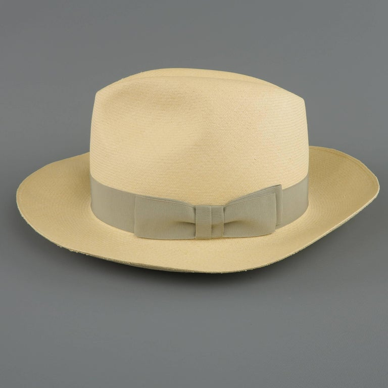 GRAHAM THOMPSON Size 7 3/8 Beige Gray Ribbon Straw Panama Hat In Excellent Condition For Sale In San Francisco, CA