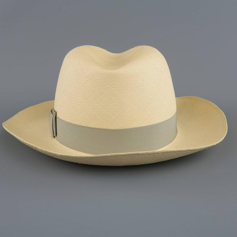 GRAHAM THOMPSON Size 7 3/8 Beige Gray Ribbon Straw Panama Hat For Sale 1