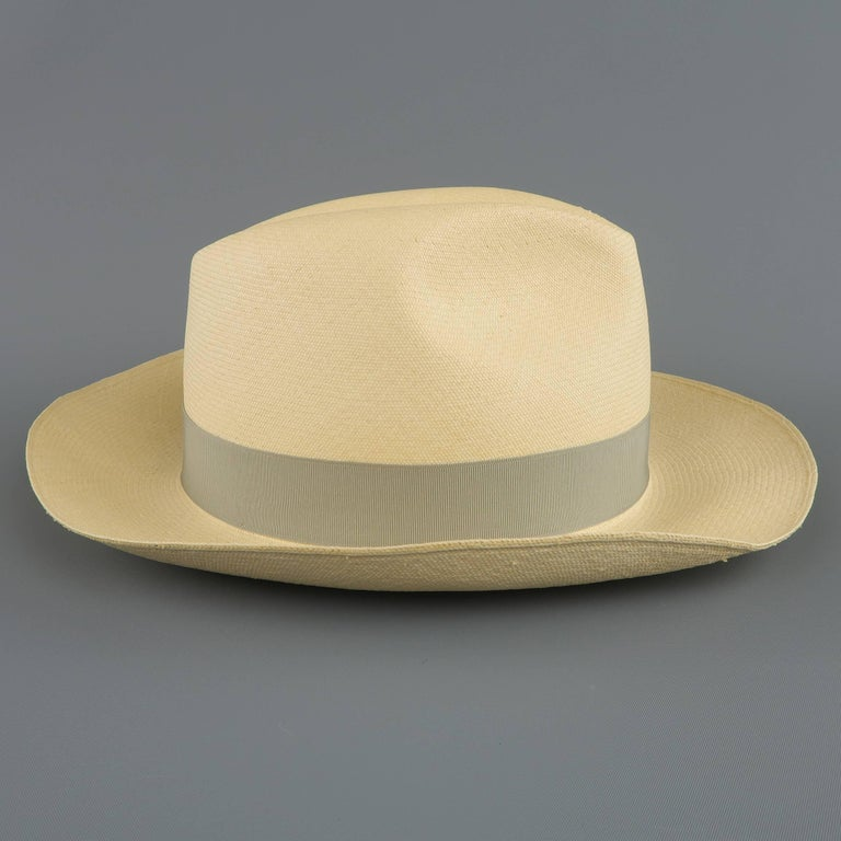 GRAHAM THOMPSON Size 7 3/8 Beige Gray Ribbon Straw Panama Hat For Sale 2