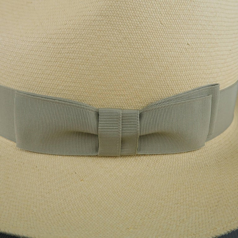 Women's or Men's GRAHAM THOMPSON Size 7 3/8 Beige Gray Ribbon Straw Panama Hat For Sale