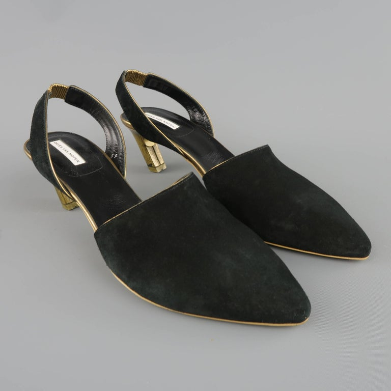 5a3b0d5069 DRIES VAN NOTEN pumps come in black suede and feature a pointed toe,  metallic gold