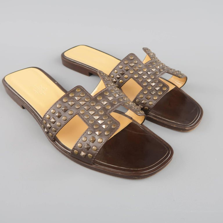 HERMES Size 10 Brown Studded Leather ORAN H Flat Strap Sandals 3