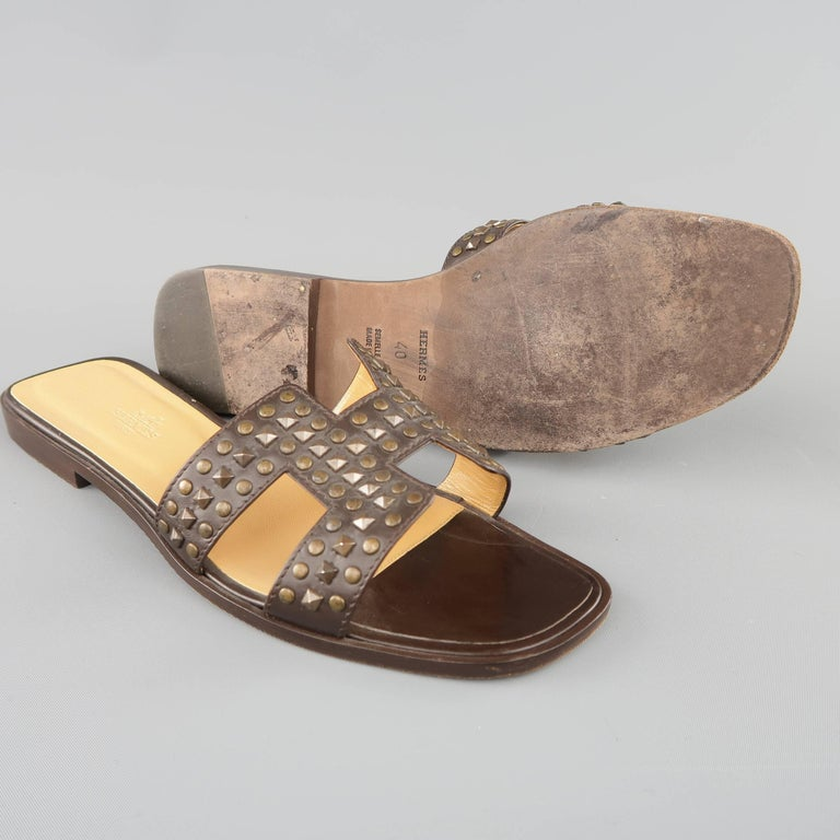 HERMES Size 10 Brown Studded Leather ORAN H Flat Strap Sandals 4