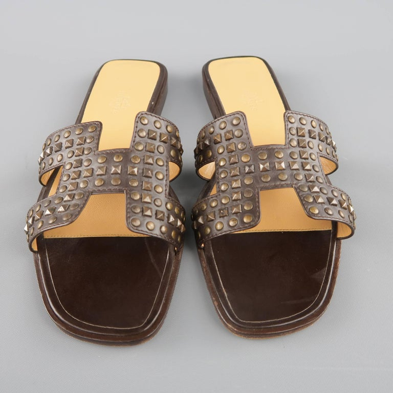 HERMES Size 10 Brown Studded Leather ORAN H Flat Strap Sandals 5