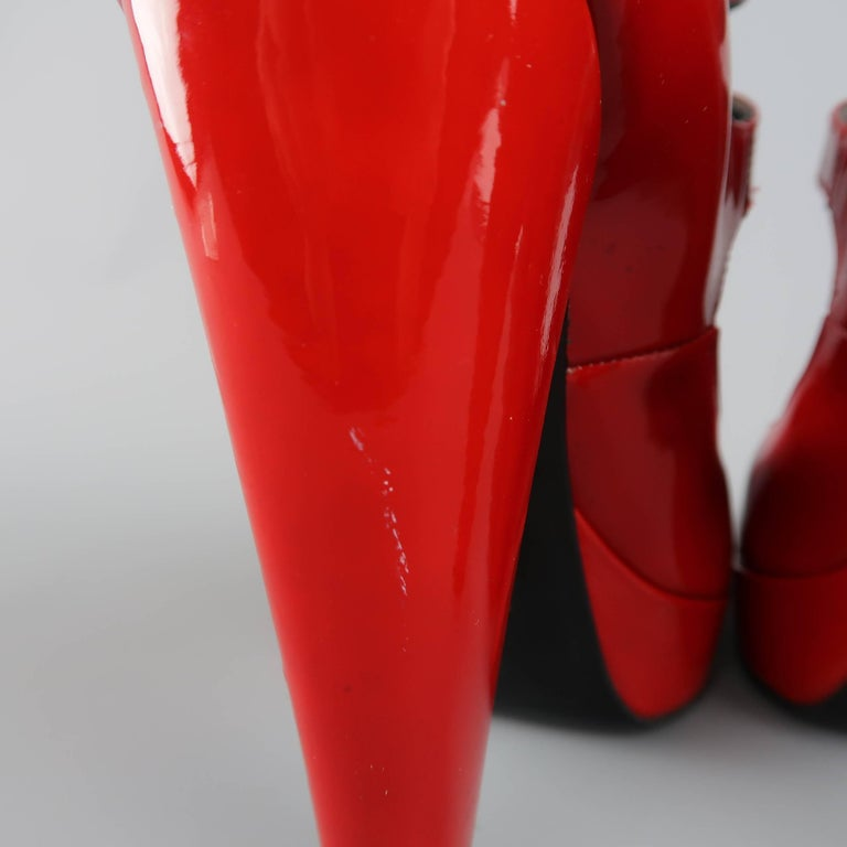 LANVIN Size 6 Red Patnet Leather Multi Mary Jane Strap Platform Pumps For Sale 4
