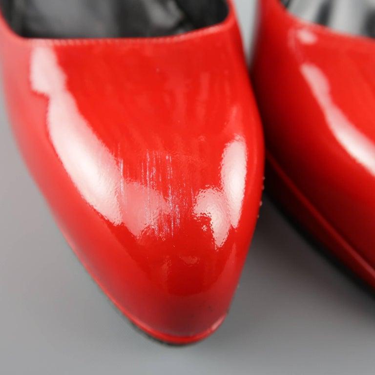 Women's LANVIN Size 6 Red Patnet Leather Multi Mary Jane Strap Platform Pumps For Sale