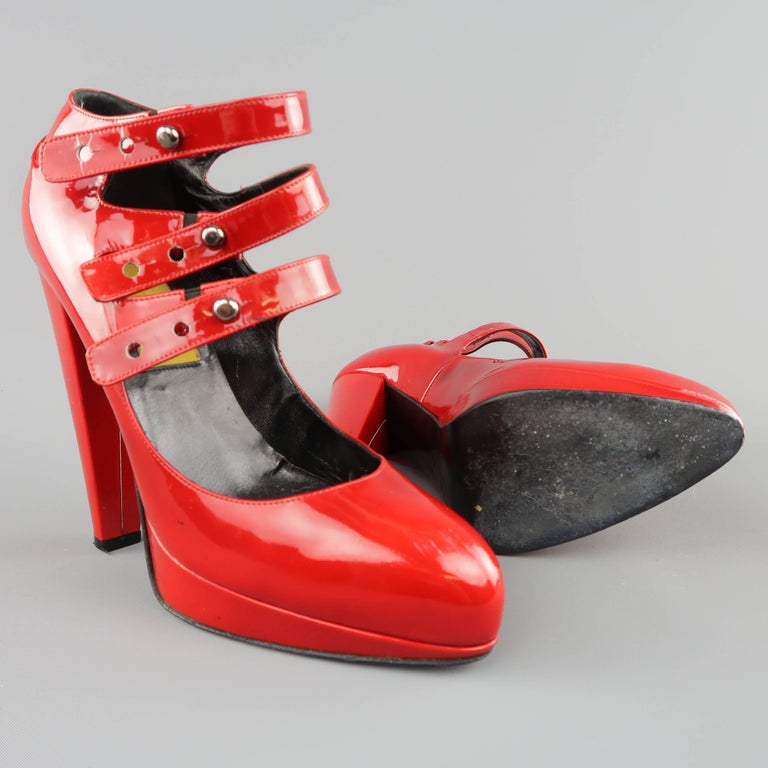 LANVIN Size 6 Red Patnet Leather Multi Mary Jane Strap Platform Pumps In Fair Condition For Sale In San Francisco, CA