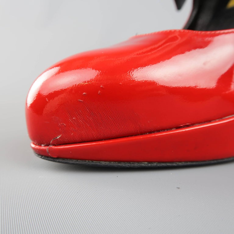 LANVIN Size 6 Red Patnet Leather Multi Mary Jane Strap Platform Pumps For Sale 1