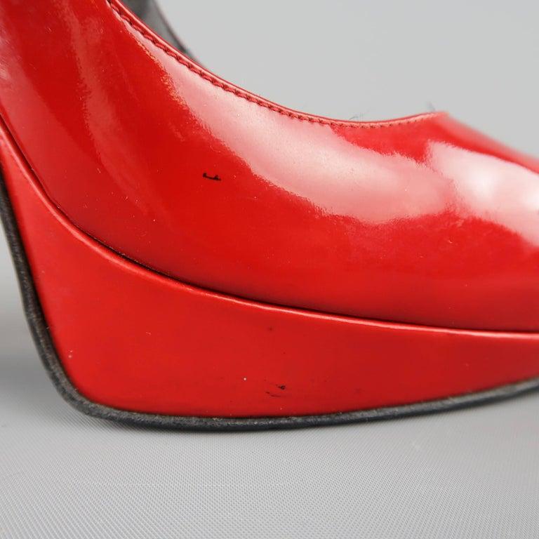 LANVIN Size 6 Red Patnet Leather Multi Mary Jane Strap Platform Pumps For Sale 2