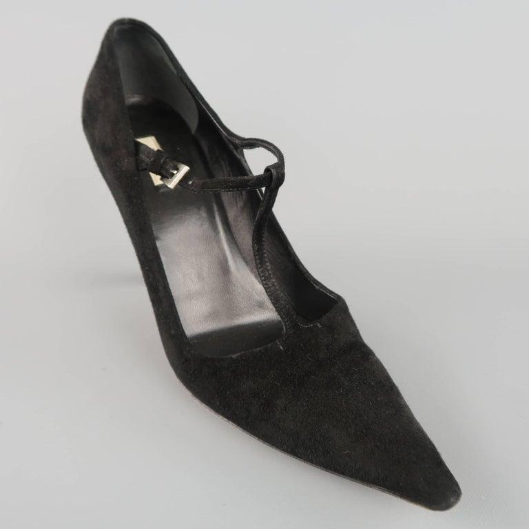 PRADA Size 8 Black Suede Pointed Cuved Heel T-strap Pumps 4
