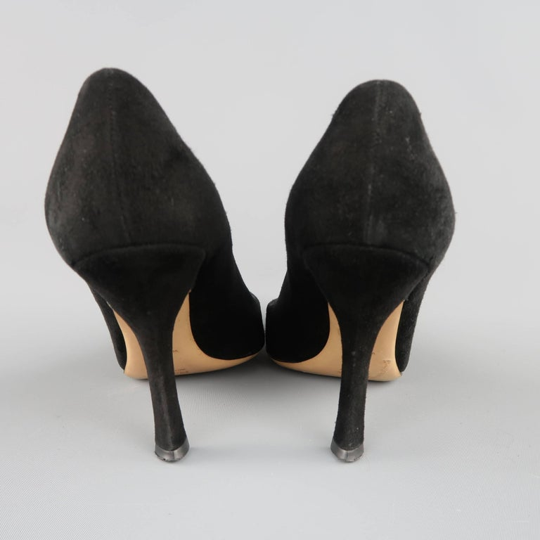 ca4192900 PRADA Size 8 Black Suede Pointed Cuved Heel T-strap Pumps For Sale ...