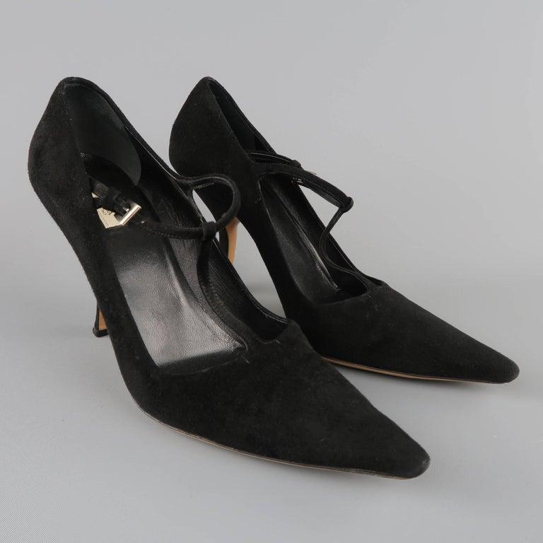 PRADA Size 8 Black Suede Pointed Cuved Heel T-strap Pumps 2