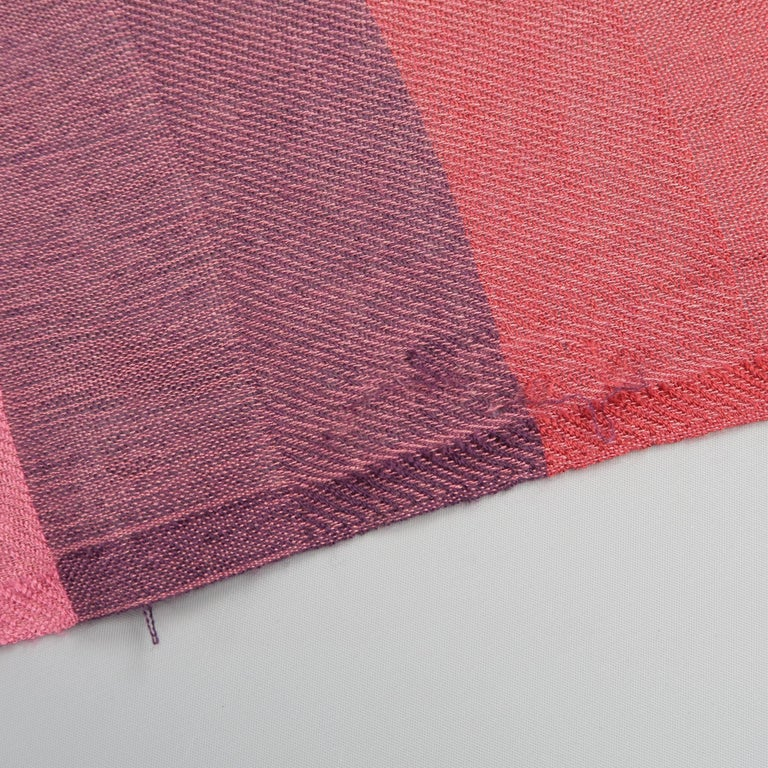 LORO PIANA Raspberry & Burgundy Striped Cashmere - Silk Shawl In Good Condition For Sale In San Francisco, CA