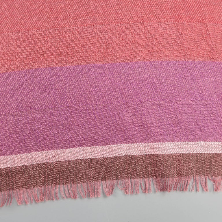 Brown LORO PIANA Raspberry & Burgundy Striped Cashmere - Silk Shawl For Sale