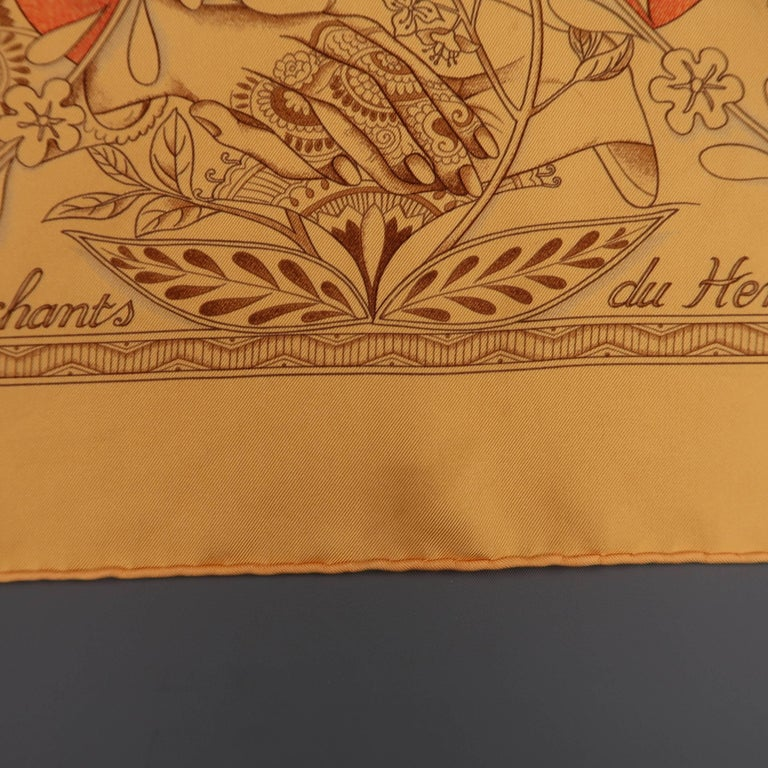 "Hermes Orange ""Les Chants du Henne"" Henna Artist Silk Scarf; 8"