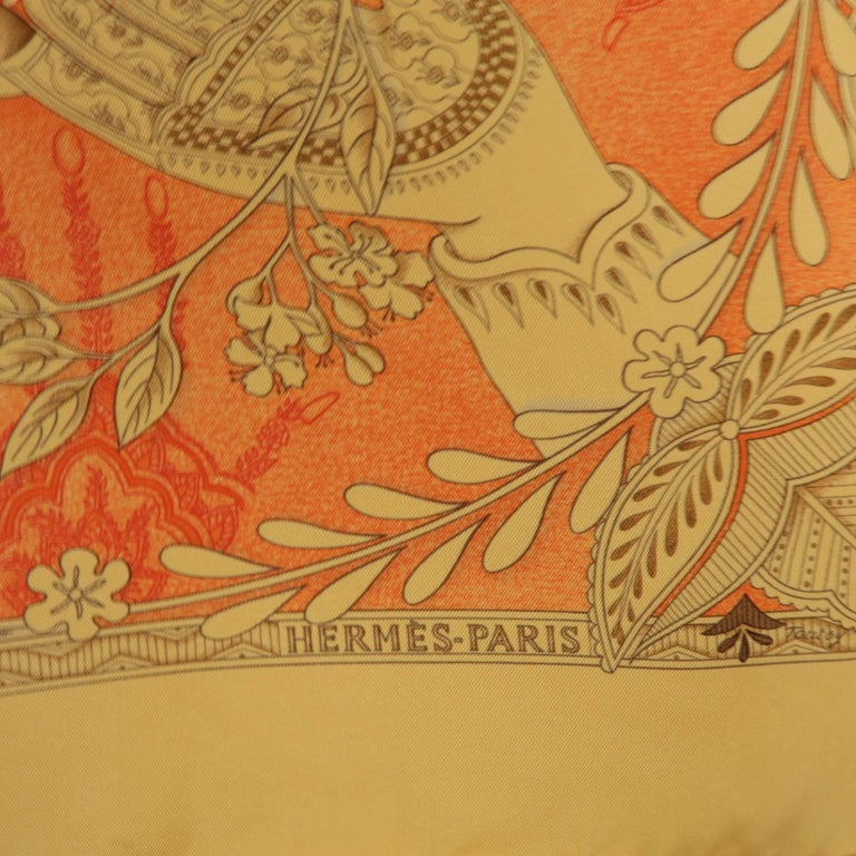 "Hermes Orange ""Les Chants du Henne"" Henna Artist Silk Scarf; In Good Condition For Sale In San Francisco, CA"