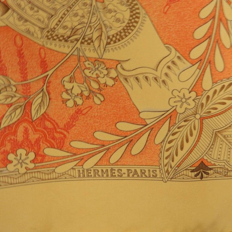 "Hermes Orange ""Les Chants du Henne"" Henna Artist Silk Scarf; 3"
