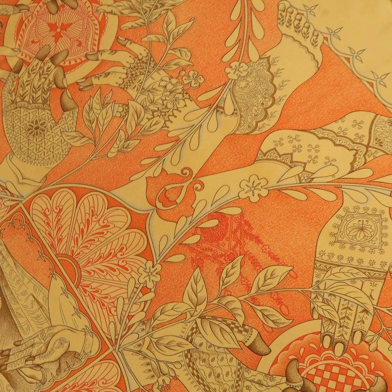 "Hermes Orange ""Les Chants du Henne"" Henna Artist Silk Scarf; 4"