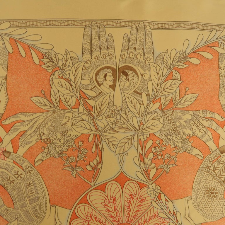 "Hermes Orange ""Les Chants du Henne"" Henna Artist Silk Scarf; 7"